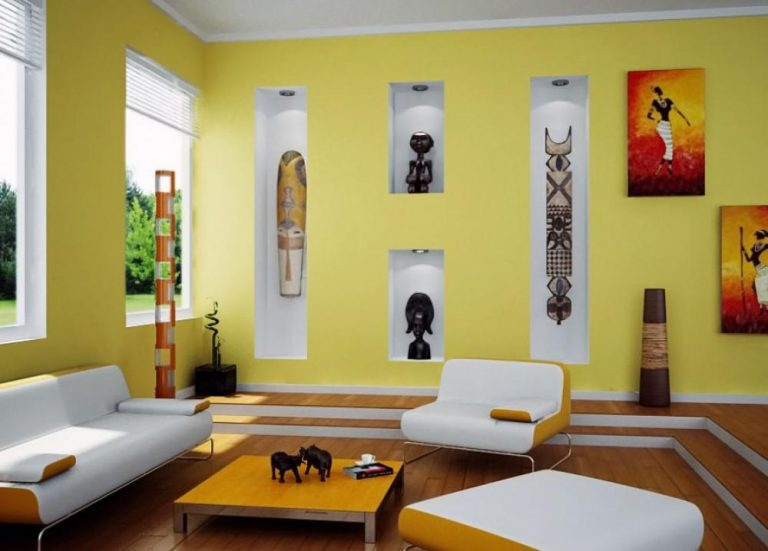 contemporary-yellow-living-room-design-with-african-ornament-throughout-interior-paint-design-interior-paint-design